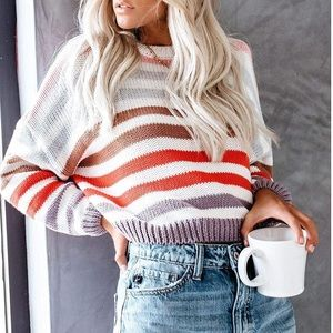 Sweaters - Rainbow Striped Oversize Knit Sweater